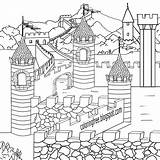 Coloring Medieval Castle Drawing Clash Dark Ages Printable Clans Teenagers Houses King Arthur Camelot Children Roof River Village Simple Line sketch template