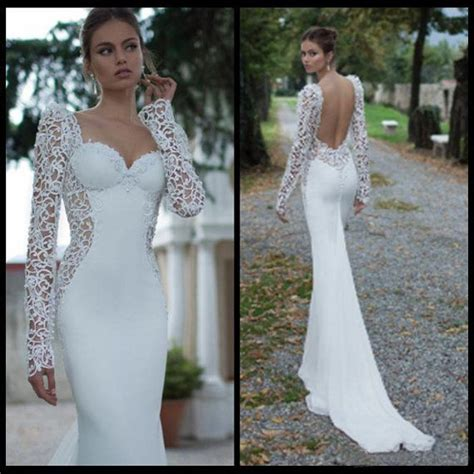 long sleeve lace backless sweetheart mermaid wedding dress