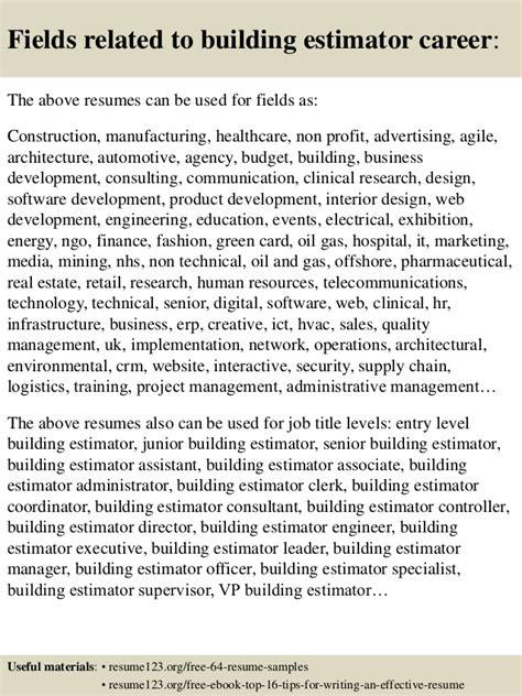 Top Resume Building by Top 8 Building Estimator Resume Sles