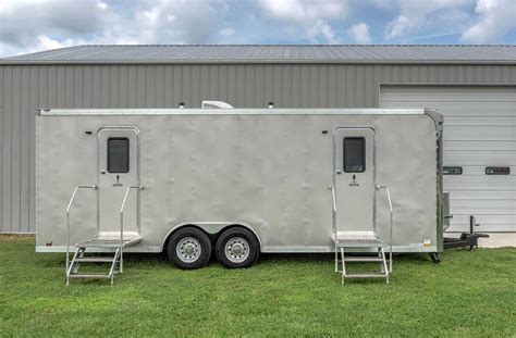 portable restroom trailers easy rental blu site solutions