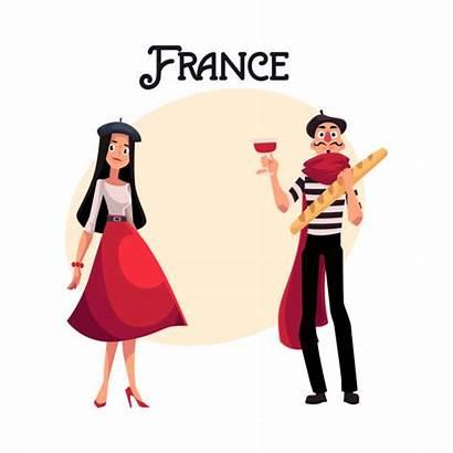 French Characters France Woman Vector Parisian Cartoon