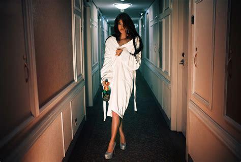 women model brunette long hair open mouth bathrobes high