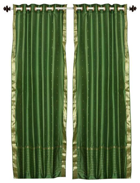 forest green ring top sheer sari curtain drape panel 80