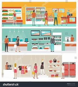 Supermarket Electronics Store Clothing Shop Banner Stock ...