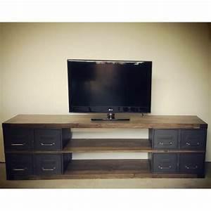 Meuble Bois Et Acier : meuble tv en acier et bois industriel ch ne ou pic a heure cr ation ~ Teatrodelosmanantiales.com Idées de Décoration