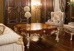 Tavolino Di Lusso  Con Piano In Ulivo  Stile Classico