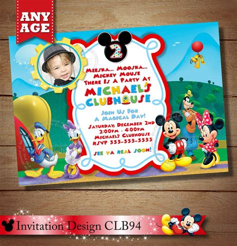 huge selection clubhouse mickey birthday invitation mickey
