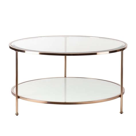 gold glass top coffee table southern enterprises risa round glass top coffee table in