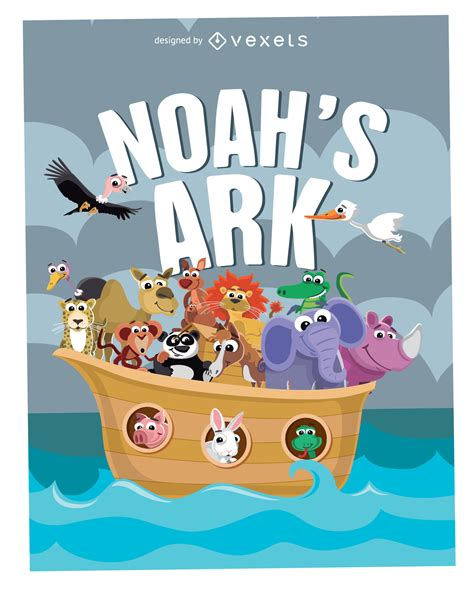 cartoon noahs ark poster vector