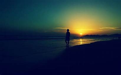 Alone Sad Sunset Wallpapers Beach Waves Cave