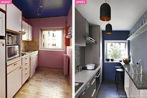 repeindre sa cuisine avant apres cuisine en longueur comment l aménager au mieux maison