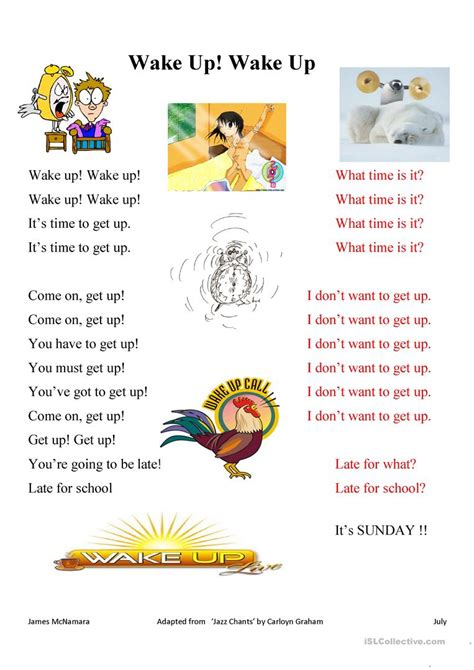 jazz chant wake  wake  worksheet  esl