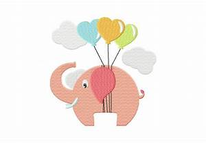 Elephant Heart Balloons Machine Embroidery Design | Daily ...