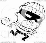 Running Burglar Cartoon Clipart Cash Looking Sack Carrying Coloring Outlined Cory Thoman Vector Clip sketch template