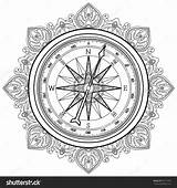 Compass Coloring Nautical Rose Wind Vector Graphic Line Drawing Drawn Tumblr Illustration Adult Geography Pages Adults Shutterstock Getdrawings sketch template