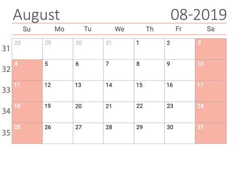 august  printable calendar   easy  print
