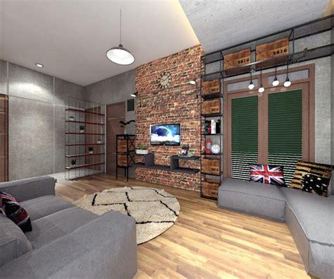rumah minimalis mungil  interior bergaya industrial