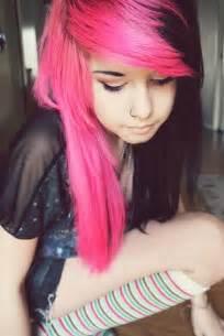 Half Black and Pink Hair