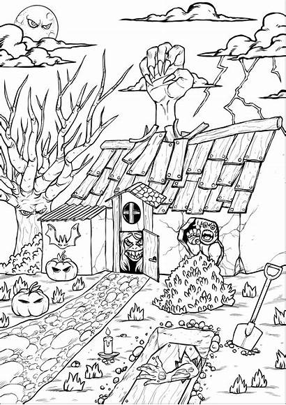 Coloring Halloween Haunted Characters Adultos Adults Colorear