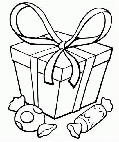 Coloring Presents Christmas Present Pages Candy Clipart
