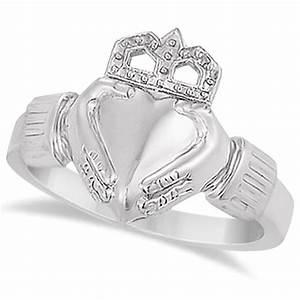 women39s heart claddagh ring irish wedding band 14k white gold With irish wedding rings for women