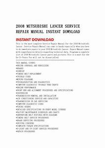 2008 Mitsubishi Lancer Service Repair Manual Instant