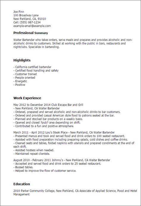 Bartender Resume Summary Exles by Describe Waiter Resume
