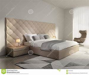 contemporary elegant luxury beige leather bedroom stock With chambre a coucher contemporaine