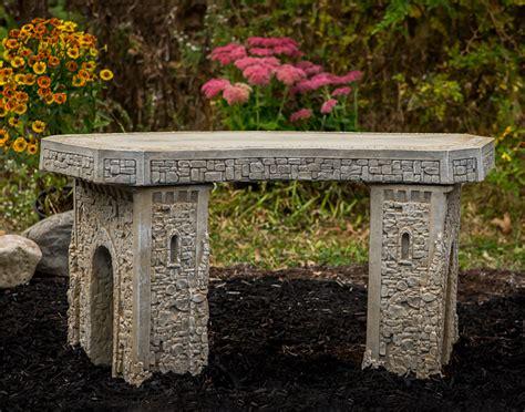 concrete curved garden bench