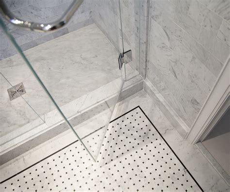 master bathroom shower floor mosaic detail master bathroom in carrara marble complete tile