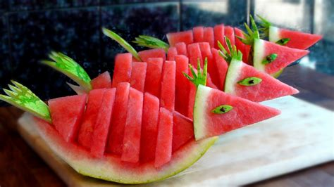 slicing strawberries for decoration how to quickly cut and serve a watermelon birds