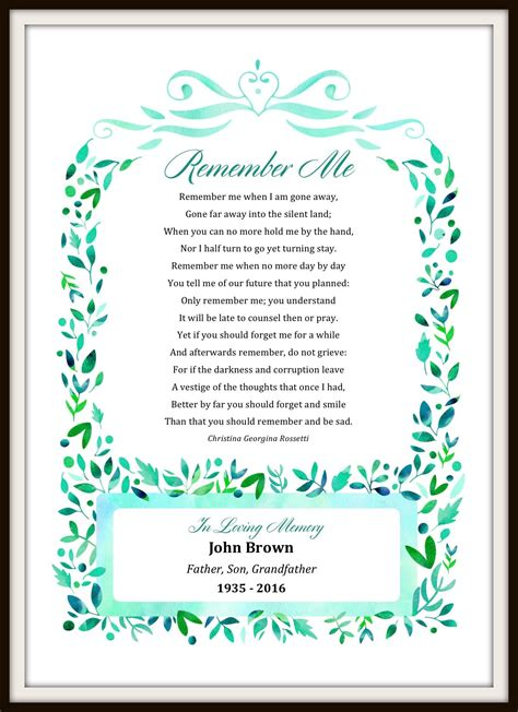 personalized remember  poem