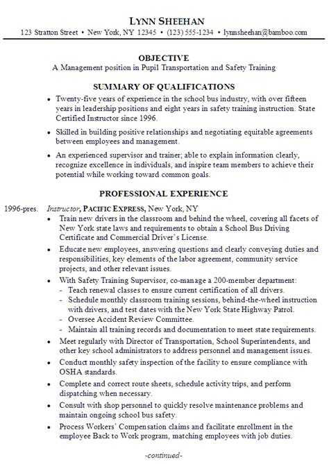resume manager pupil transportation susan