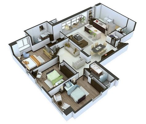 20 Designs Ideas For 3d Apartment Or Onestorey Three
