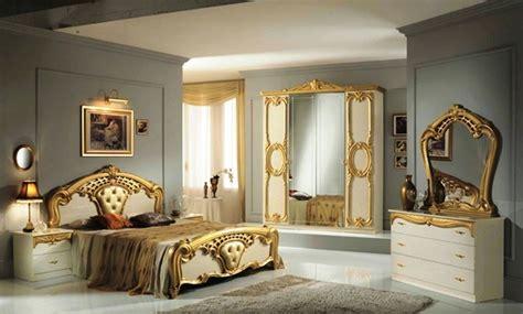 High Gloss Beige & Gold Italian Bedroom Furniture