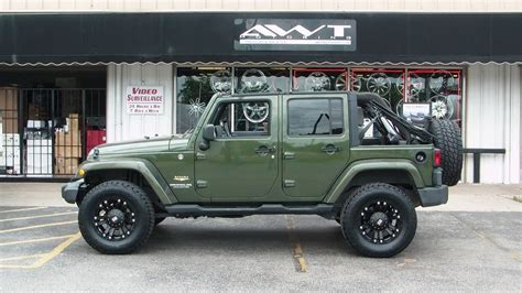 matte dark green jeep green 2008 jeep wrangler unlimited with 18 inch xd monster