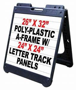 Poly a frame 26quotx32quot double sided sidewalk sign w letter for Sign letter track kit