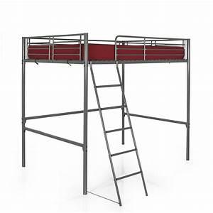 Hauteur Lit Mezzanine : mezzanine lit en hauteur pour 2 140x200cm gris tonny ~ Premium-room.com Idées de Décoration