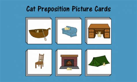 cat preposition picture cards  images preposition