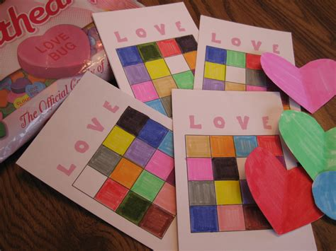 preschool valentine party games s day color bingo 379