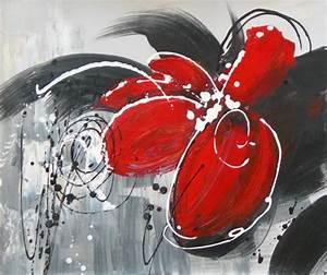 Tableau Peinture Sur Toile : tableau peinture fleur rouge toile moderne abstraite ~ Teatrodelosmanantiales.com Idées de Décoration