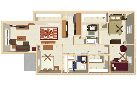3 Bedroom Apartment Floor Plans by Bloomington Apartments Floor Plans