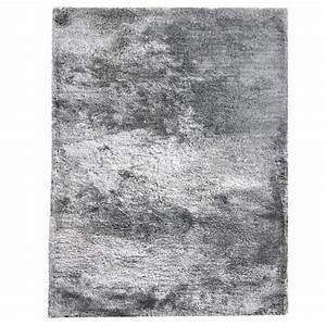 tapis shaggy uni zelie gris argent par dhf With tapis shaggy gris but
