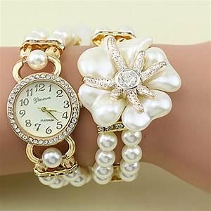 hot vente luxe avec de la resine blanc perle bracelet With robe de cocktail combiné avec vente bracelet montre