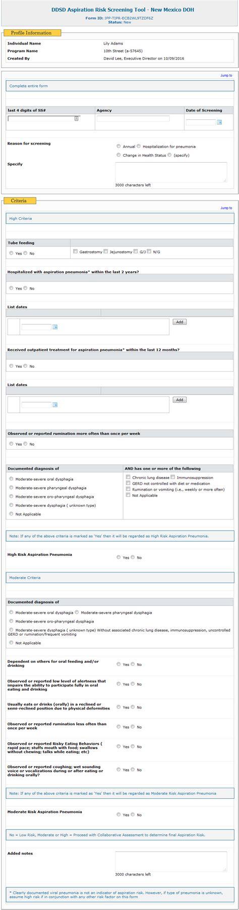 create ddsd aspiration risk screening tool