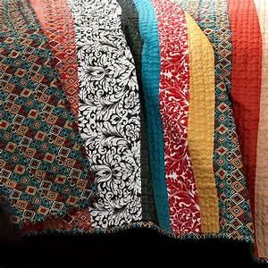 Lush, Decor, Boho, Stripe, Quilt, Reversible, 3, Piece, Bohemian