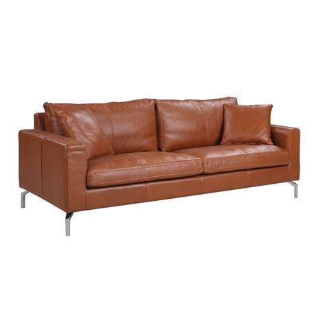 orren ellis nyyear mid century modern plush top grain leather sofa reviews wayfair