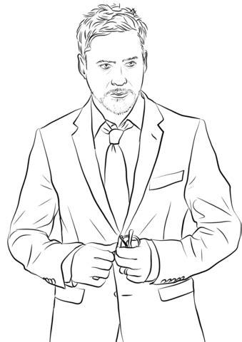 robert downey jr aka tony stark coloring page