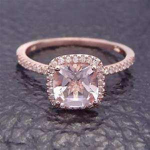 HALO 6MM CUSHION MORGANITE.2CT PAVE DIAMOND SOLID 14K ROSE ...