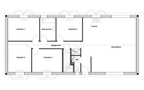 facade cuisine seule plan maison rectangle 4 chambres